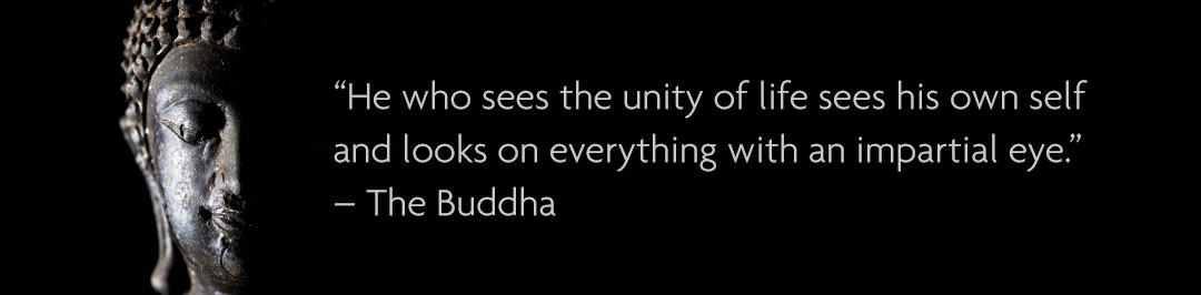 """He who sees the unity of life sees his own self and looks on everything with an impartial eye."" – The Buddha"